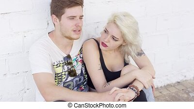 Happy affectionate young couple on a date - Happy...