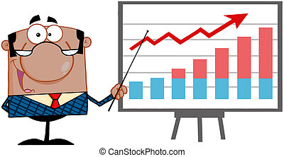 Happy African American Business Manager With Pointer Presenting A Progressive Chart