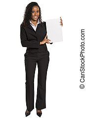 Happy African American business woman holding placard