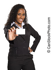 Happy African American business woman holding visit card