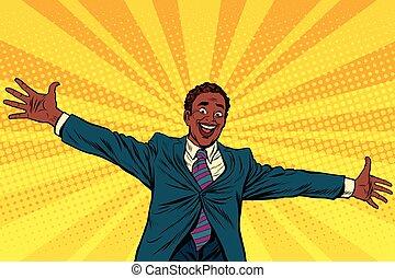 Happy African American businessman open hands for hugs
