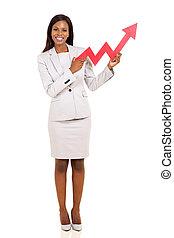african american businesswoman holding stock arrow