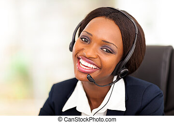 African American call center operator - happy African...