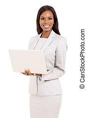 african american career woman using laptop