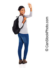 african american college student waving goodbye - happy ...