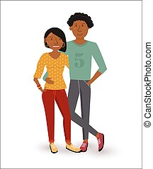 Happy african american couple flat