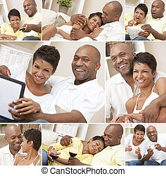 Happy African American Couple Sitting At Home Montage - A...
