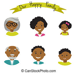 Happy African American family faces portraits of six members: parents,their son and daughter, and grandparents. Vector illustration.