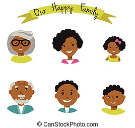 Happy African American family faces portraits of six members parents,their son and daughter, grandparents. Vector illustration.