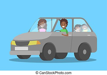 Happy african american family in the car
