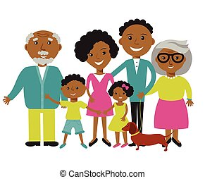 Happy African American family of four members parents, their...