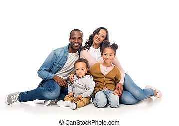 happy african american family with two kids