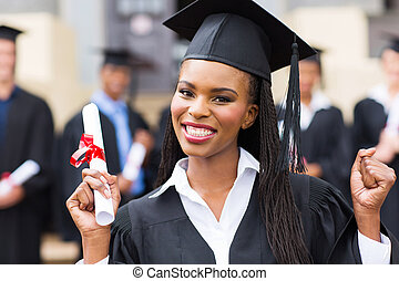 happy african american female graduate