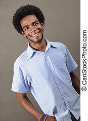 Happy african american man