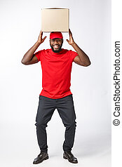 Happy African American man with a box on his head