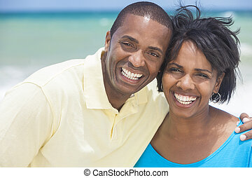 Happy African American Man Woman Couple Beach