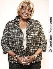 happy african american older woman
