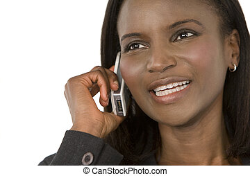 Happy African American Phone Call
