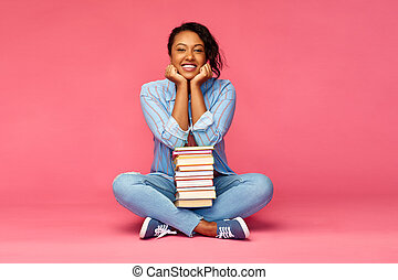 happy african american student woman with books
