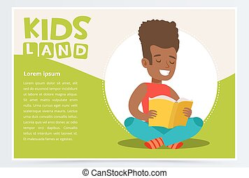 Happy African American teen boy sitting and reading paper book. Enjoying literature. White and green kids land card or poster with schoolboy flat vector character.
