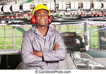 happy african american textile worker