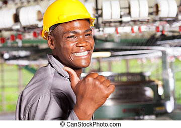 african american textile worker thumb up