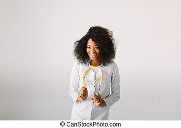 Happy African American trusted Doctor Woman isolated on white background