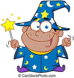 Happy African American Wizard Boy