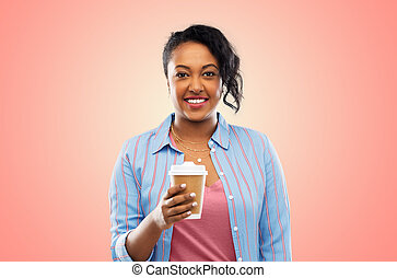 happy african american woman drinking coffee