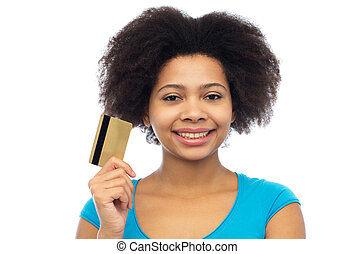 happy african american woman with credit card