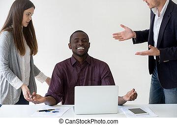 Happy African American worker mediating reaching nirvana at work