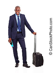 happy African businessman travel by air
