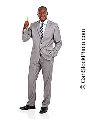 african corporate worker giving thumb up