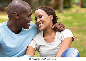 african couple at the park