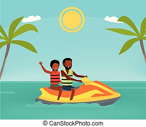 Happy african couple enjoy riding ski jet in blue ocean. Summer Vacation. Cartoon vector illustration. Sea tour. African american family. Flat cartoon illustration. Lifestyle.