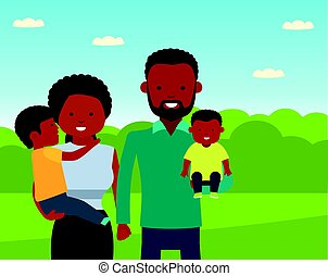 Happy African family in the Park. African American family.