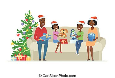Happy African family open Christmas presents - cartoon people characters illustration