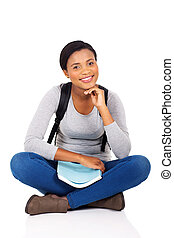 african female college student sitting