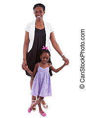 Happy african mother with her daughter