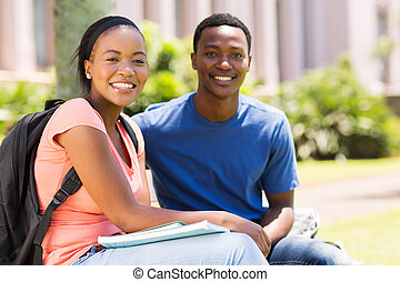 african university couple on campus