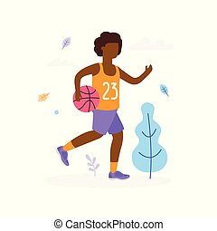 Happy Afro-American boy running and playing basketball outdoors in the park isolated on white background. Children activity concept, summer flat illustration with tree, clouds and leaves around
