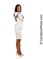 afro american businesswoman giving thumbs up