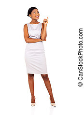 afro american businesswoman pointing up