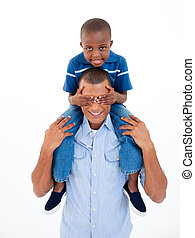 Happy Afro-american father