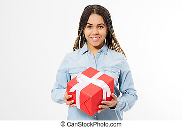 happy afro american woman with present box isolated on white background