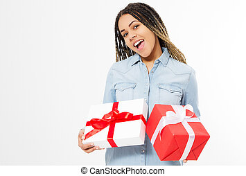 happy afro american woman with present boxes isolated on white background