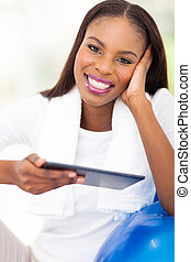 afro american woman with tablet pc
