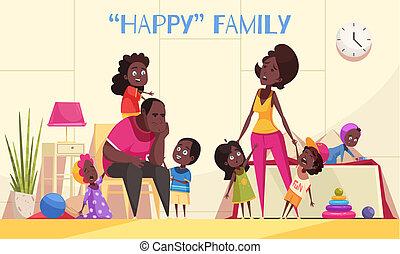 Happy Afroamerican Family Cartoon Illustration -...