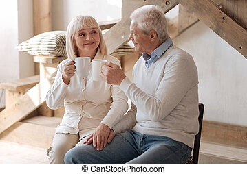 Happy aged couple drinking tea