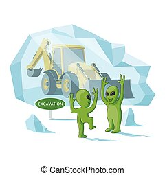 Happy aliens excavate a human excavator